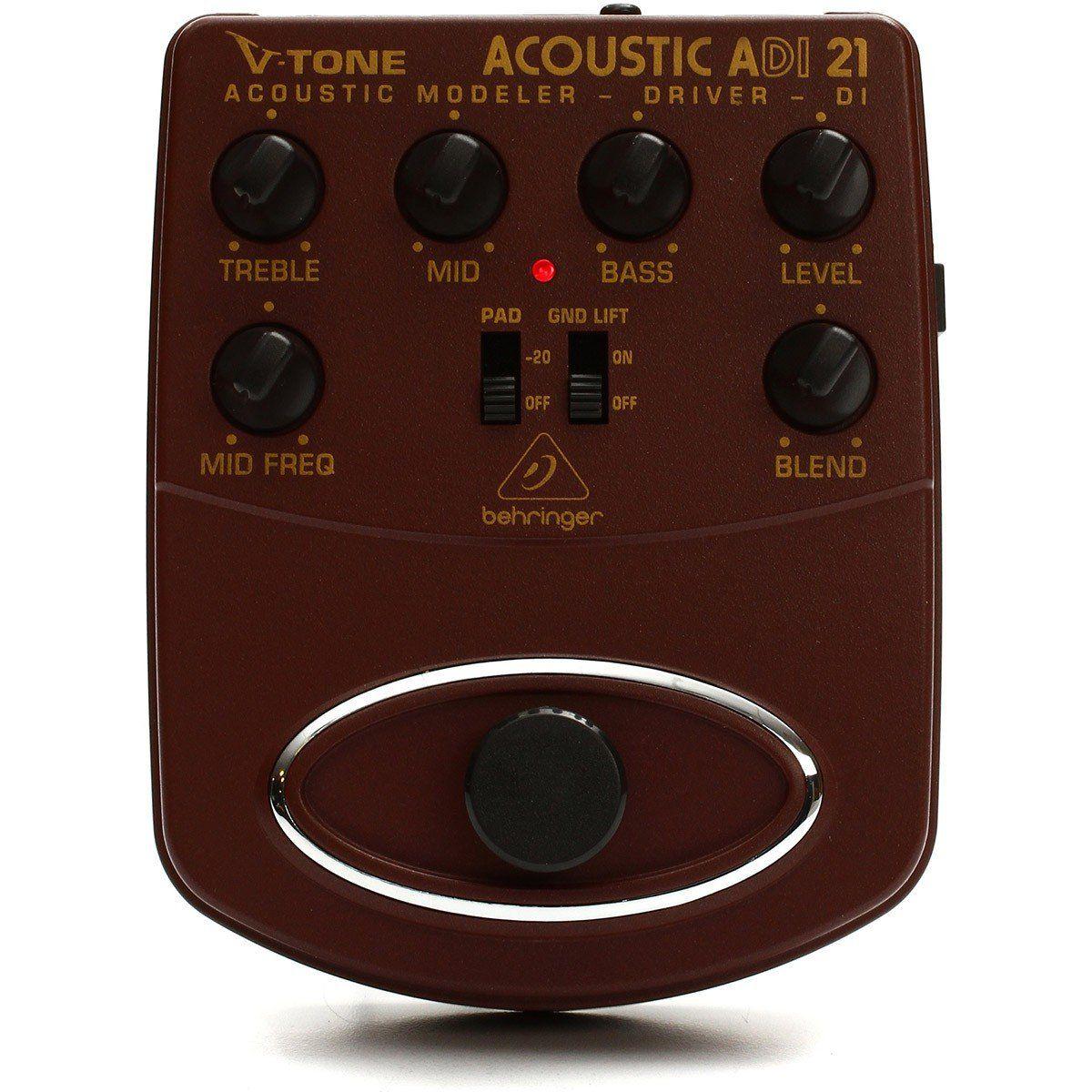 Behringer ADI21 V-Tone Acoustic Pedal para Violão com Equalizador de 3 Bandas