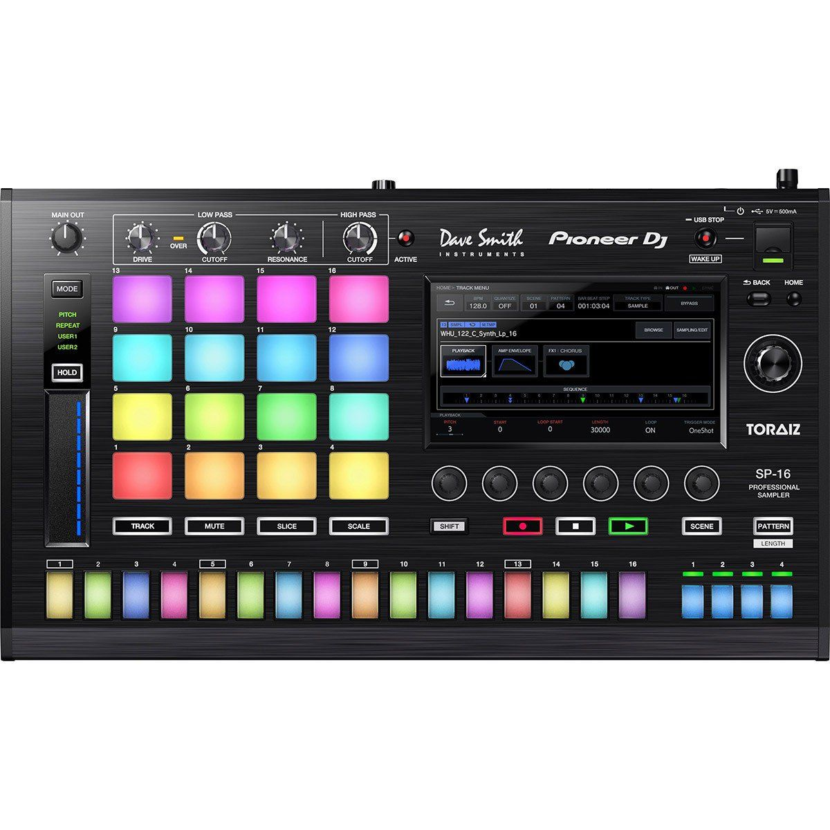 Pioneer Toraiz SP16 Sampler SP-16 Sequenciador 16 Steps Touchscreen 16-Pads
