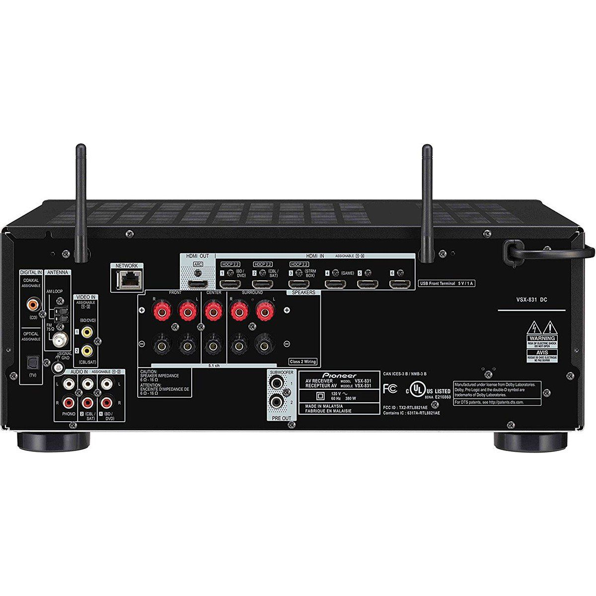 Pioneer VSX-831K Receiver para Sistemas Home Theater 4K Wi-Fi Bluetooth