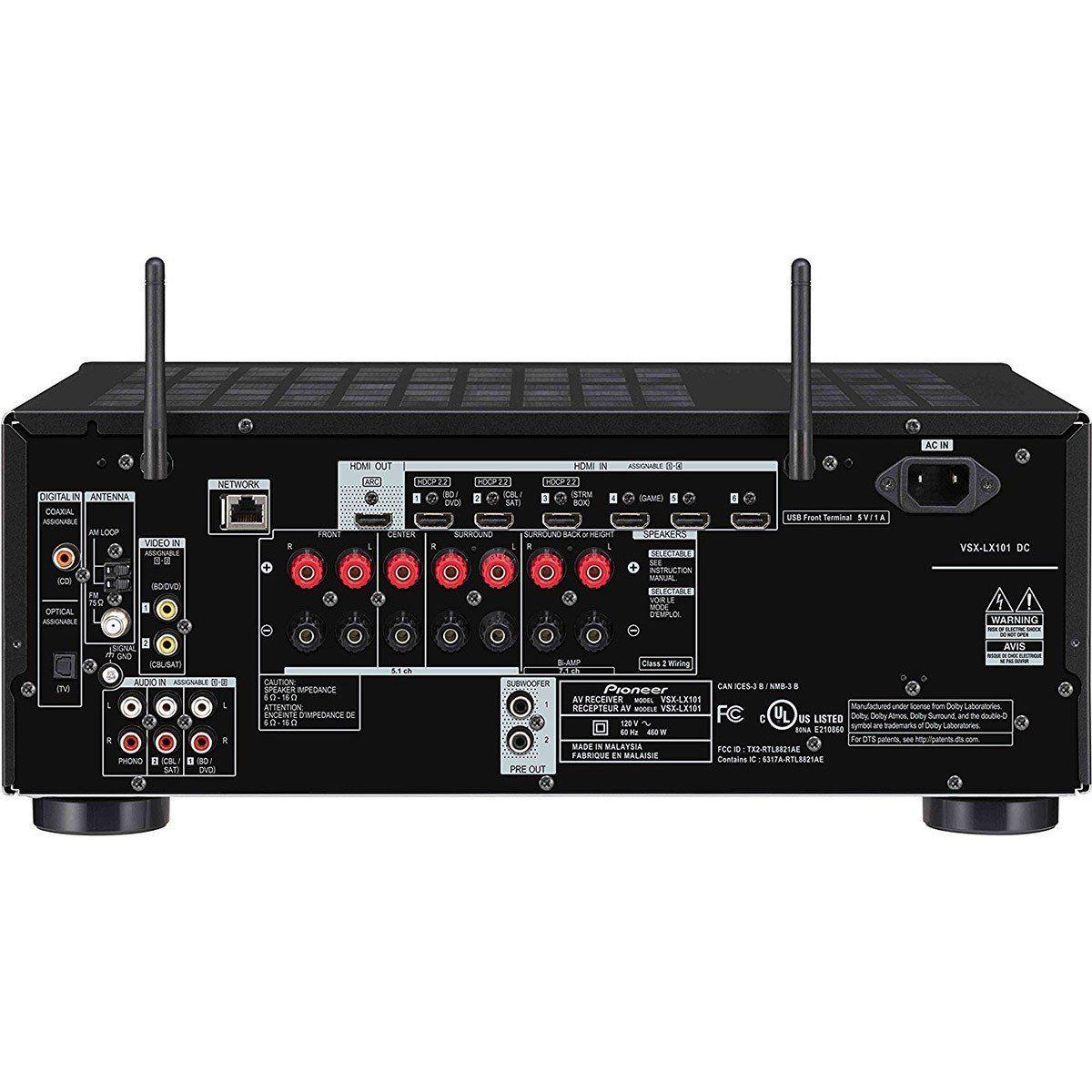 Pioneer VSX-LX101 Receiver Elite para Sistemas Home Theater 7.2 4K Wi-Fi Bluetooth