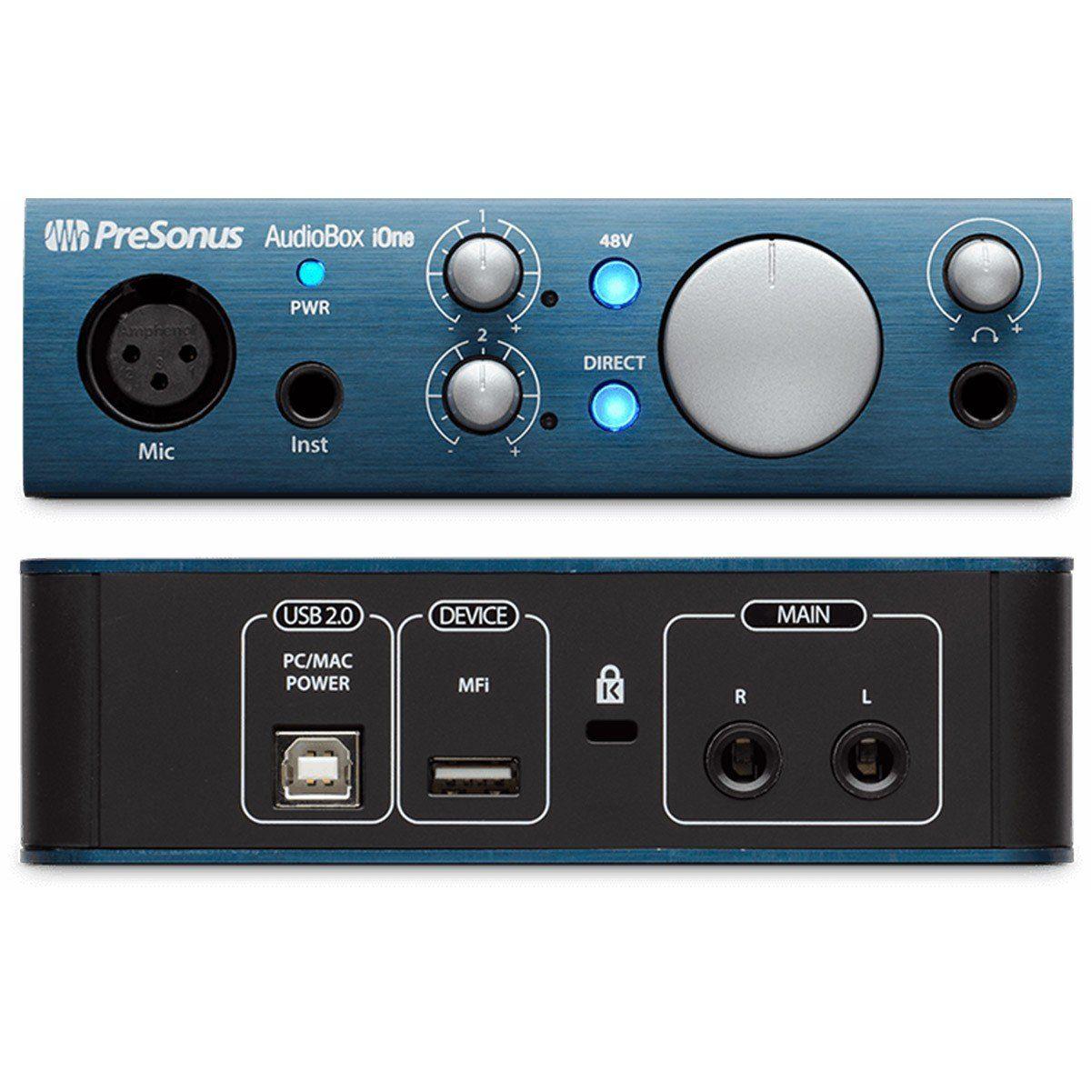 Presonus AudioBox iOne Interface de Áudio Audio Box i-One 2x2 Studio One Mac PC iPad