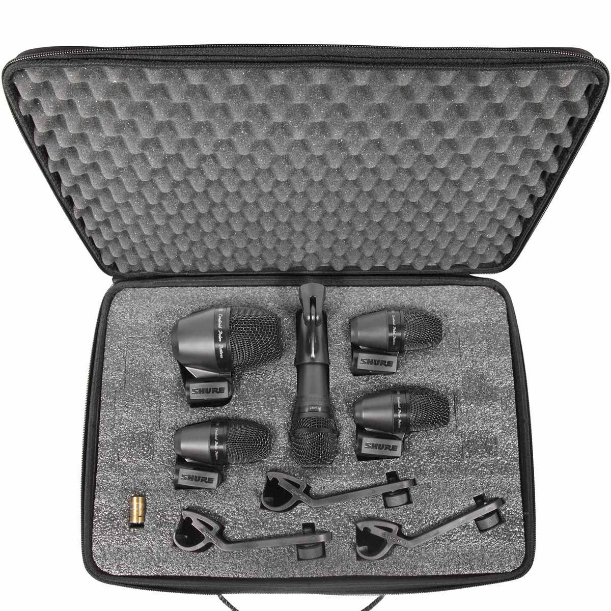 Shure PGADRUMKIT5 Microfones Dinâmicos Kit de Microfones para Bateria Drum Kit 5