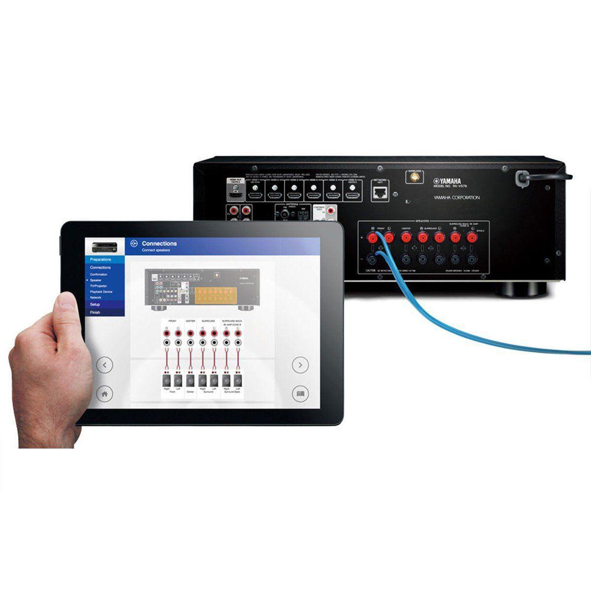 Yamaha RX-A3060BL Receiver com 11.2 Canais 4K 3D Para Processamento em Home Theater