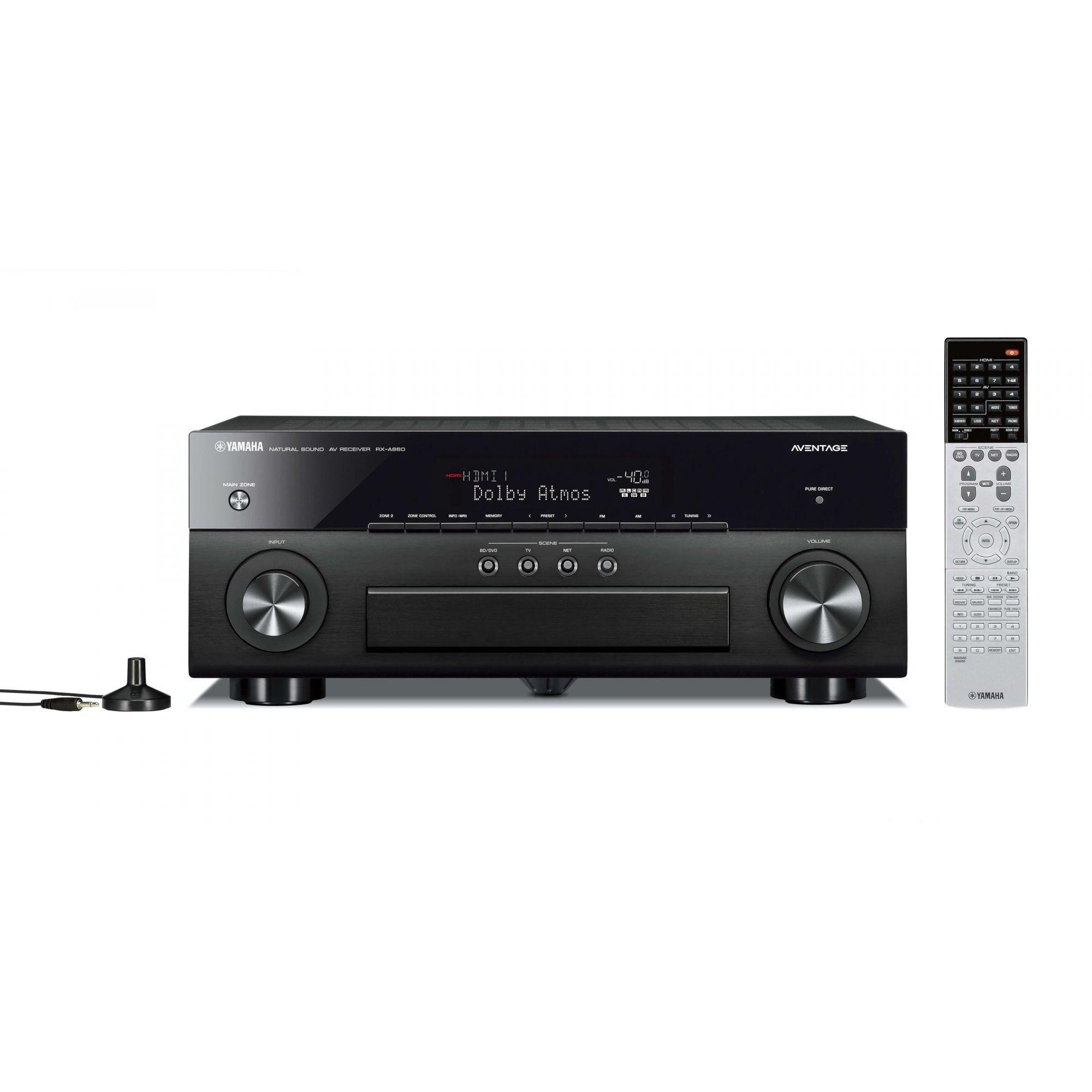 Yamaha RX-A860  Receiver 7.2 Canais Filmes em 4K Wi-Fi Bluetooth Som Surround