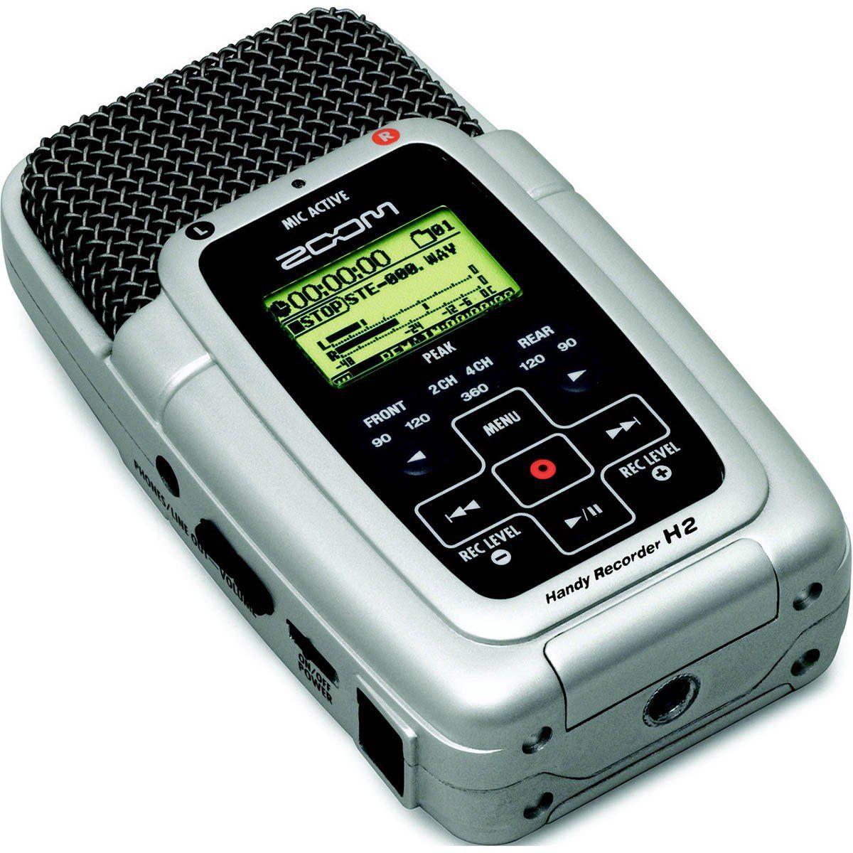 Zoom H2 Gravador De Audio Zoom H-2 Usb 1GB 4 Microfones 24-Bit 96-Khz até 32GB