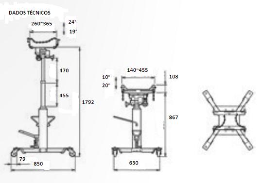 Macaco hidráulico telescópico para retirar câmbio 500 Kgs kl-0145-10 Gedore Klann