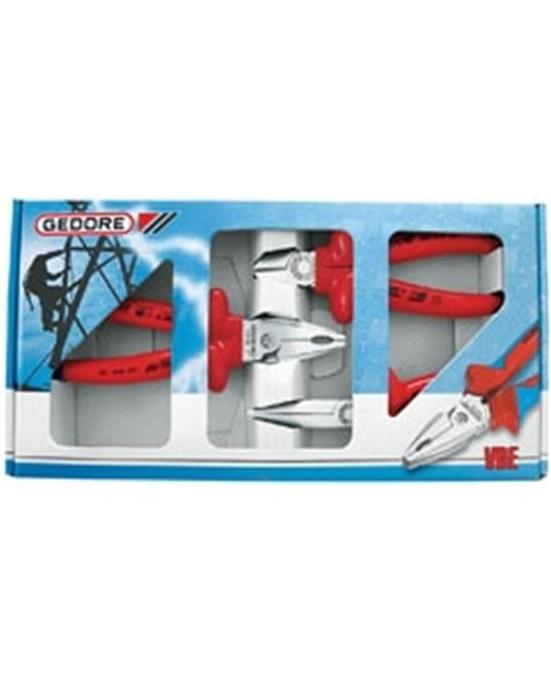 Jogo de Alicates Isolados 1000 V, Com 3 Peças: de Bico, de Corte Diagonal e Universal - VDE -S-8003  - GEDORE