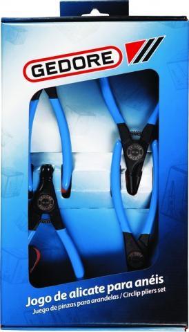 Jogo de Alicates de Trava de Aneis C 8000 A-J4 Com 4 Peças - GEDORE