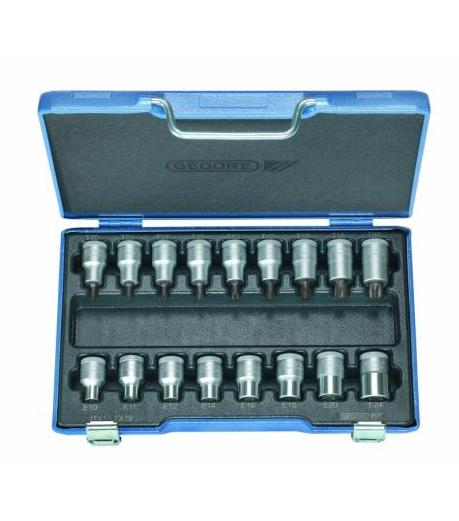 Jogo de chaves soquete perfil torx® enc. ■ 1/2 fêmea e macho ITX 19 TX -017 com 17 peças