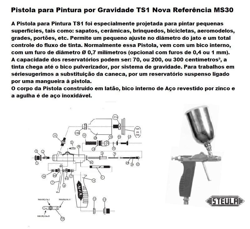 PISTOLA PARA PINTURA TIPO GRAVIDADE TS1 - STEULA