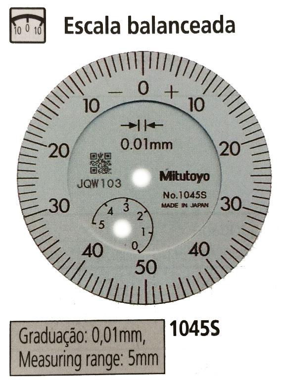 RELÓGIO COMPARADOR - 5 X  0,01MM - LEITURA +/- 0 - 50 -0 - 1045S - MITUTOYO
