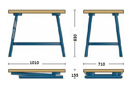 Bancada Articulada de Madeira (Naval) Estrutura em Aço 1010x830/155x710mm - B 1525 - Gedore