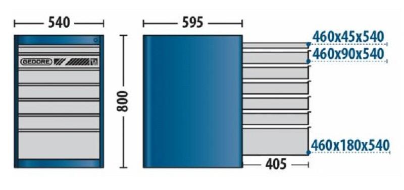Módulo Para Bancada 540x800x595mm Com 7 Gavetas - 32870 - Gedore