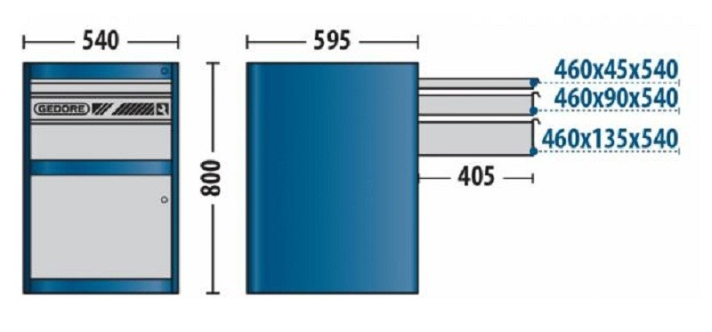 Módulo Para Bancada 540x800x595mm Com 3 Gavetas e 1 Porta - 32830 - Gedore