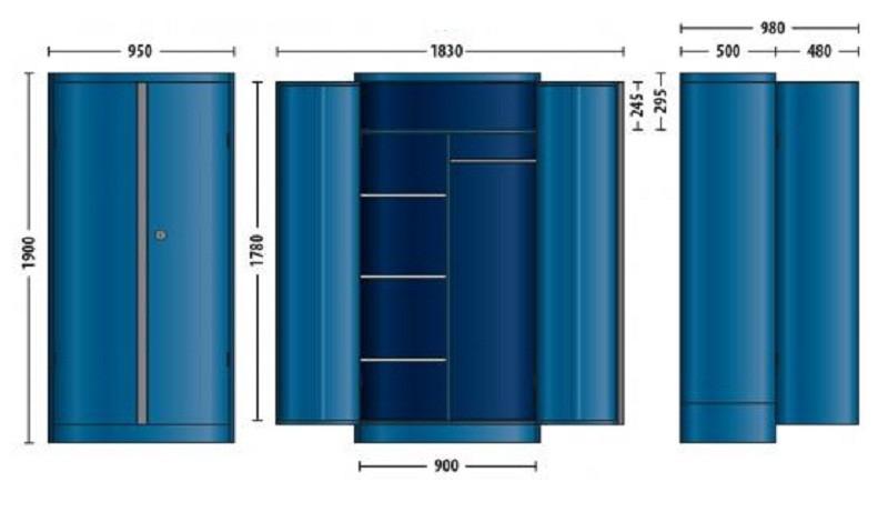 """Armário Universal """"Jumbo"""" 950x1900x500mm Com Divisórias - 52510 - Gedore"""