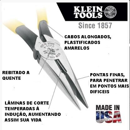 """ALICATE BICO MEIA CANA COM CORTE 8.5/16"""" - 210 MM - KLEIN D-203-8 CABO PLASTIFICADO AMARELO"""