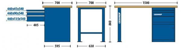 Bancada Modular 1500x840x700mm c/1 Módulo de 3 Gavetas e 1 Porta - 30830-84522 - Gedore
