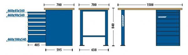 Bancada Modular 1500x840x700mm c/1 Módulo de 7 Gavetas - 30820-84522 - Gedore