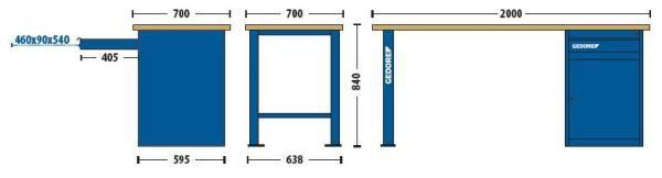 Bancada Modular 2000x840x700mm c/1 Módulo de 1 Gaveta e 1 Porta - 30810-84622 - Gedore