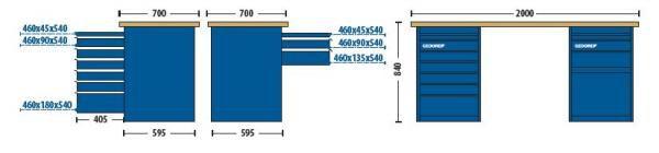 Bancada Modular 2000x840x700mm c/2 Módulos 1 com 7 Gavetas e  Outro 1 com Gaveta e 1 Porta - 30870-84622 - Gedore