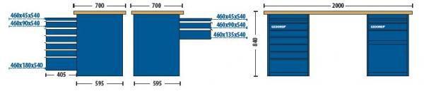 Bancada Modular 2000x840x700mm c/2 Módulos 1 com 7 Gavetas e  Outro 3 Gavetas e 1 Porta - 30825-84622 - Gedore