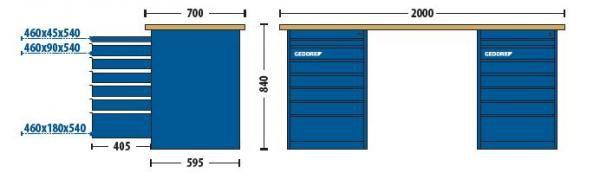 Bancada Modular 2000x840x700mm c/2 Módulos  com 7 Gavetas - 30815-84622 - Gedore