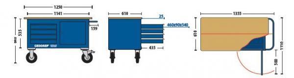 Carro Bancada Com 4 gavetas e Armário - 63340 - Sem Ferramentas - GEDORE