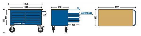 Carro Bancada Com 8 gavetas e Armário - 63320 - Sem Ferramentas - GEDORE