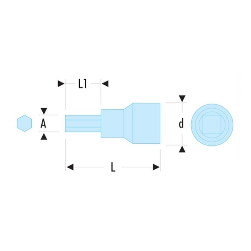 Chave soquete allen 1/4 isolado VSE