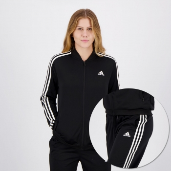 Agasalho Adidas Essentials 3 Stripes Feminino Preto