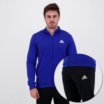 Agasalho Adidas Essentials Tricot Azul e Preto