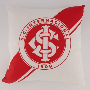 Almofada Quadrada Internacional Branca e Vermelha