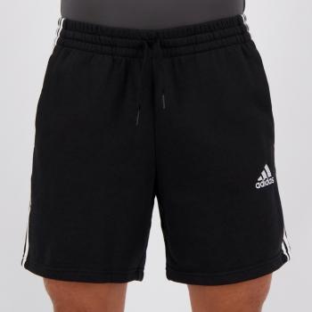 Bermuda Moletom Adidas Essentials Stripes Preta