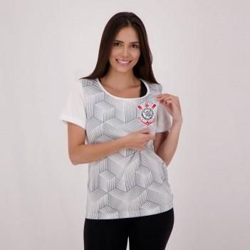 Blusa Corinthians Cubos SCCP Feminina Branca