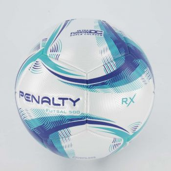 Bola Penalty RX 500 IX Futsal Branca e Azul
