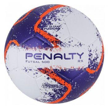 Bola Penalty RX 500 R2 Fusion VIII Futsal Branca e Roxa