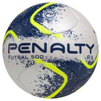 Bola Penalty RX 500 Ultra Fusion VII Futsal Branca e Azul