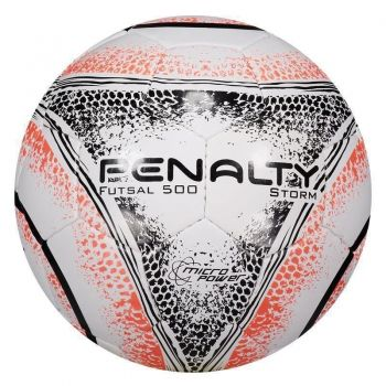 Bola Penalty Storm 500 VIII Futsal Branca e Laranja