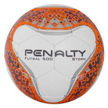 Bola Penalty Storm VI Futsal Branca e Laranja