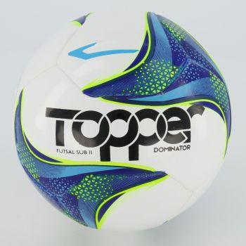 Bola Topper Dominator Sub 11 Futsal Branca e Azul