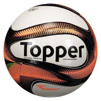 Bola Topper Dominator TD2 Futsal Branca e Coral