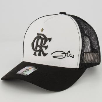 Boné Flamengo Zico Branco e Preto