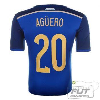 Camisa Adidas Argentina Away 2014 20 Agüero Matchday