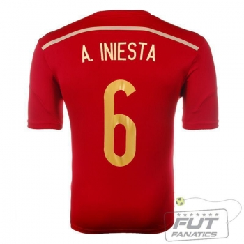 Camisa Adidas Espanha Home 2014 6 Iniesta Authentic Matchday