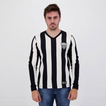 Camisa Atlético Mineiro Retrô 1950 Manga Longa Branca e Preta