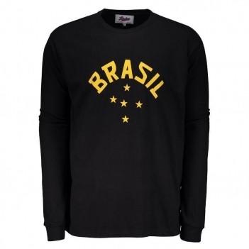 Camisa Brasil 60 Goleiro Retrô Manga Longa Preta