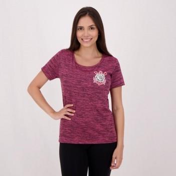Camisa Corinthians Fio Tinto Clever Feminina Rosa Mescla