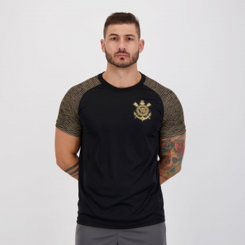Camisa Corinthians Raglan Sublime Preta e Dourada