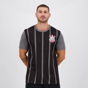 Camisa Corinthians Stripes Preta e Cinza