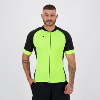 Camisa de Ciclismo Placar Congo Amarela e Preta